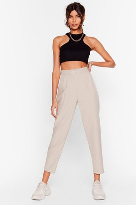 Nasty Gal Womens It's Just Business High-Waisted Tapered Trousers - Beige - L