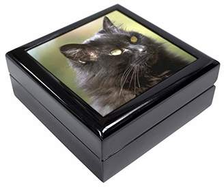 Beautiful Fluffy Black Cat Keepsake/Jewellery Box Christmas Gift