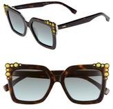 Fendi Women's 52Mm Gradient Cat Eye Sunglasses - Havana/ White