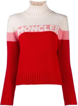 Moncler Logo Intarsia Roll Neck Jumper