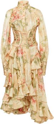 Zimmermann Espionage Floral-Print Corset-Detailed Silk Dress