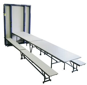 """Mobile Space Saver Recessed 168"""" x 64"""" Rectangular Bench Cafeteria Table AmTab Manufacturing Corporation"""