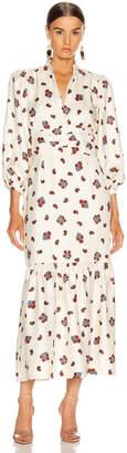 Rebecca De Ravenel Peasant Dress in White Combo | FWRD