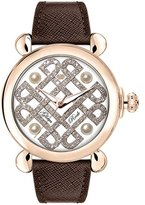 Glam Rock Women's Vintage 40mm Brown Leather Band Rose Gold Plated Case Quartz White Dial Watch GR28074