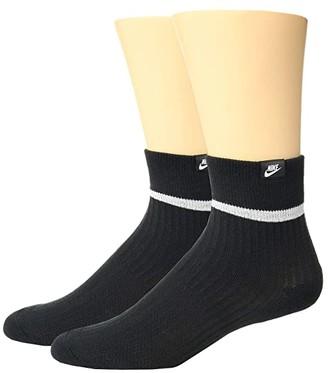 Nike Sneaker Sox Essential Ankle Socks 2-Pair Pack (Black/White/White) Low Cut Socks Shoes