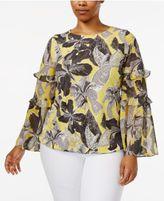 Alfani Plus Size Ruffle Bell-Sleeve Blouse, Created for Macy's