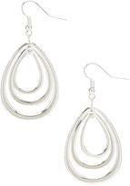 Carole Silvertone Triple-Layer Teardrop Earrings