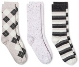 Merona Women's Crew Socks 3-Pack Oatmeal All Over Argyle One Size