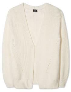 Paul Smith Cream Rib Knit Cotton Blend Cardigan - large