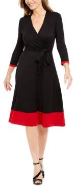 Jessica Howard Colorblocked Faux-Wrap Sweater Dress