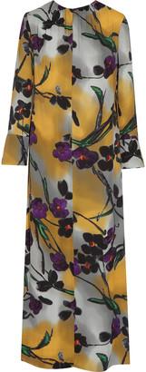 Marni Floral-print Satin-crepe Maxi Dress