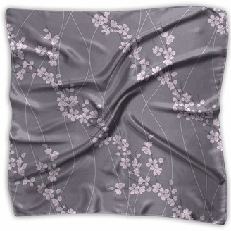 Jjiayi Mixed Designs Silk Square Scarves Bandana Scarf Asian Spring Japanese Sakura Branches Full Blossom Modern Oriental Composition Womens Neck Head Set