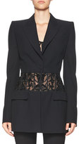 Alexander McQueen Beaded-Waist Long Blazer, Black