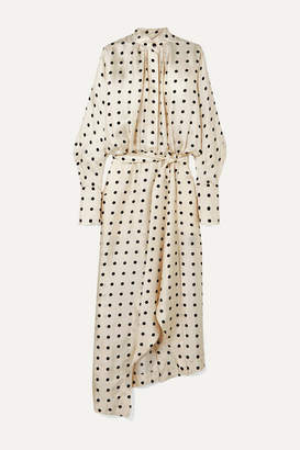 Petar Petrov Dublin Belted Asymmetric Polka-dot Silk-twill Dress - Ivory