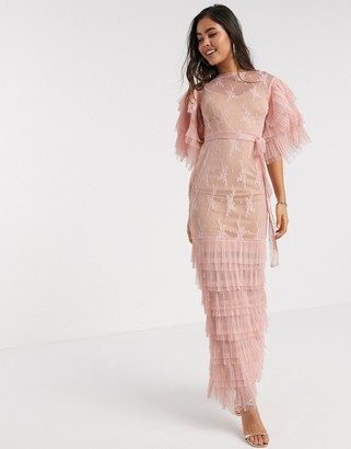 Forever U lace maxi dress with ruffle detail in pink