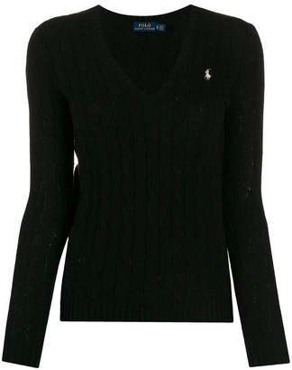 Polo Ralph Lauren Merino Wool Blend Logo Knit V-neck Jumper