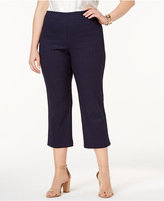 Charter Club Plus Size Cambridge Tummy-Control Jacquard Capri Pants, Created for Macy's