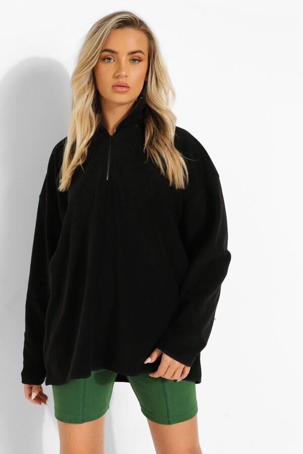 boohoo Oversized Half Zip Fleece Sweat