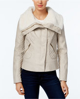 GUESS Faux-Fur-Collar Faux-Leather Jacket
