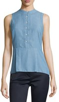 Veronica Beard Sleeveless Chambray Button-Front Top, Blue