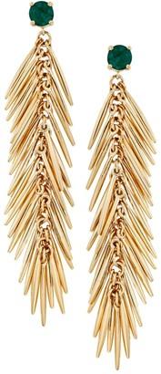 Ileana Makri Grass 18K Yellow Gold & Emerald Feather Drop Earrings