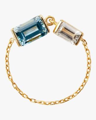 Yi Collection Topaz Aquamarine Chain Ring