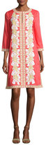 Tory Burch Embroidered 3/4-Sleeve Tunic Dress