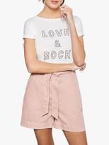 Mint Velvet Belt Tie Denim Shorts, Light Pink