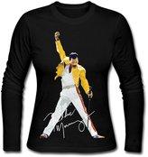 Dvigo Women's Queen Band Freddie Mercury Autograph Sign 100% Cotton Long Sleeve Tshirts