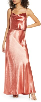WAYF The Narcissa Popover Cowl Neck Satin Gown