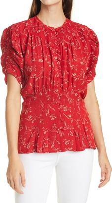 Polo Ralph Lauren Print Smocked Peplum Blouse