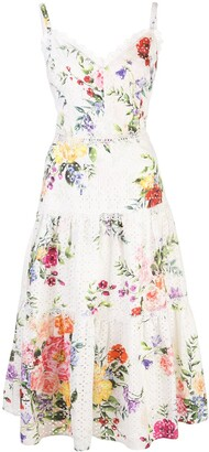 Marchesa Floral Print Broderie Anglaise Dress