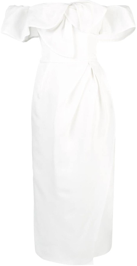 Carolina Herrera Off Shoulder Silk Gazar Dress