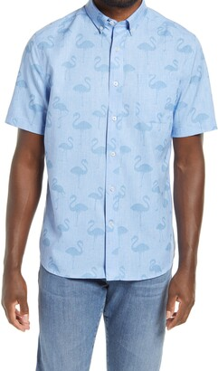 Southern Tide Flamingo Dock Classic Fit Short Sleeve Button-Down Shirt