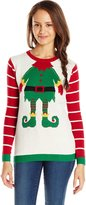 Ugly Christmas Sweater Junior's Front and Back Elf with Tattoo Christmas Sweater