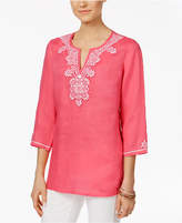 Charter Club Petite Embroidered Tunic, Created for Macy's