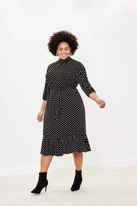 Oasis Womens Black Curve Spot Midi Dress - Black