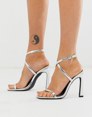 London Rebel strappy heeled sandals in silver