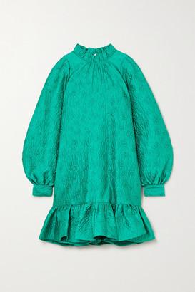 Ulla Johnson Emilia Ruffled Cloque Mini Dress - Turquoise