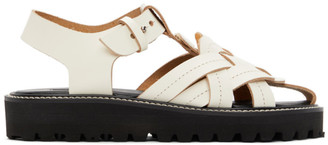 Y's Ys White Leather Knitted Sandals
