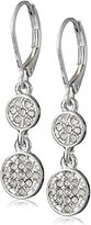"Nine West Pave Party"" Silver-Tone Crystal Double Drop Earrings"