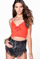 Boohoo Molly Lace Up Ribbed Crop Cami