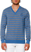 Dolce & Gabbana Striped Virgin Wool V-Neck Sweater, Blue/Gray