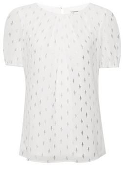 Dorothy Perkins Womens Billie & Blossom Tall Ivory Foil Short Sleeve Top