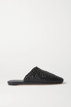 Bottega Veneta Intrecciato Leather Slippers - Black