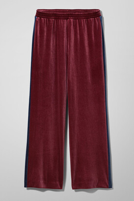 Weekday Zill Velvet Trousers - Red