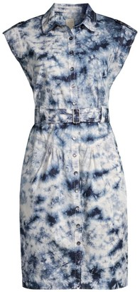 Rebecca Taylor Sleeveless Tie-Dye Belted Dress