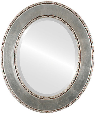 """The Oval And Round Mirror Store Paris Framed Oval Mirror in Silver Leaf with Brown Antique, 23""""x29"""""""