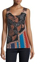 Neiman Marcus Folklore Printed Superfine Cashmere Tank