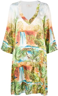 Altea Tropical-Print V-Neck Dress